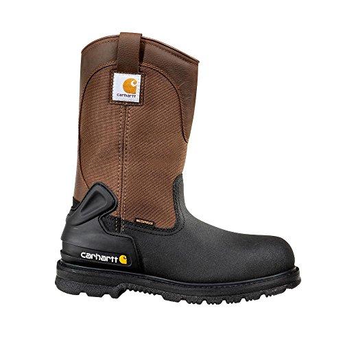 Men's Carhartt 11 inch Waterproof Insulated Steel Toe Wellington Work Boots Brown / Black, BRN/BLK, 11.5W