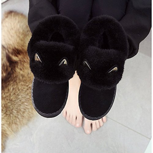 for Women's Snow Toe Shoes Feather ZHZNVX Low Black Boots Cashmere HSXZ Round Boots Black Boots Calf Heel Mid Casual Winter qP55wa