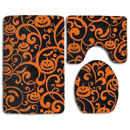 (Luxurious Bathroom Rug Shag Pumpkin Orange Texture Super Absorbent Toilet Floor Mat - 3 Pack Memory Foam Non Slip Bath Mats and Quick Dry Rug Sets for Bath Room)
