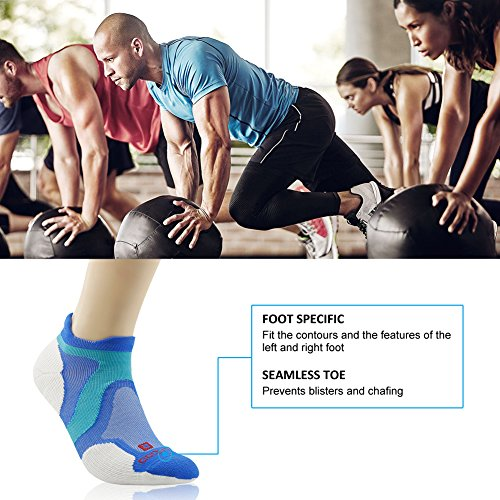 Merino Wool Tab Ankle Running Socks, ZEALWOOD Unisex Performance No-Show Athletic Quarter Sock, Gym Socks, Light Weight Socks,Dry Hiking/Outdoor Socks-Blue/White,Small by ZEALWOOD (Image #8)