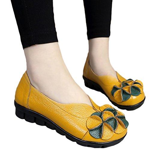 Vintage Chaussures Escarpins Plate Matchlife Floral Cuir Style1 Gelb Femme U7x47wgqH