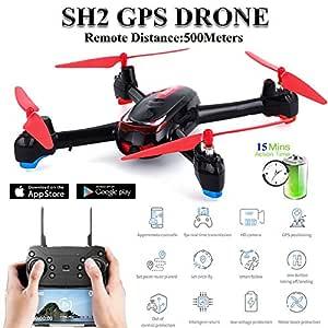 MeterMall SH2 RC Drone GPS con cámara HD 1080P Gran Angular ...