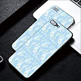 Phone case Compatible with iPhone7 Plus iPhone8 Plus Ultra Slim Magnet Protective Case Metal Frame,Night Sky with Soft Colored Stars New Year Theme,Tempered Glass Back (Black Frame)