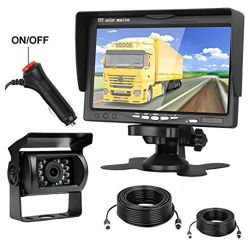 iStrong Backup Camera and 7'' Monitor Kit System for Car/Truck/Trailer/Camper Waterproof Wired Rear View Full-time View Options