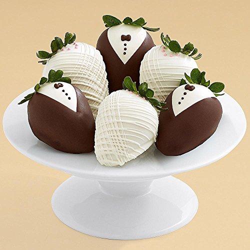 Shari's Berries - Half Dozen Hand-Dipped Wedding Strawberries - 6 Count - Gourmet Fruit Gifts - 6 Hand Dipped Berries