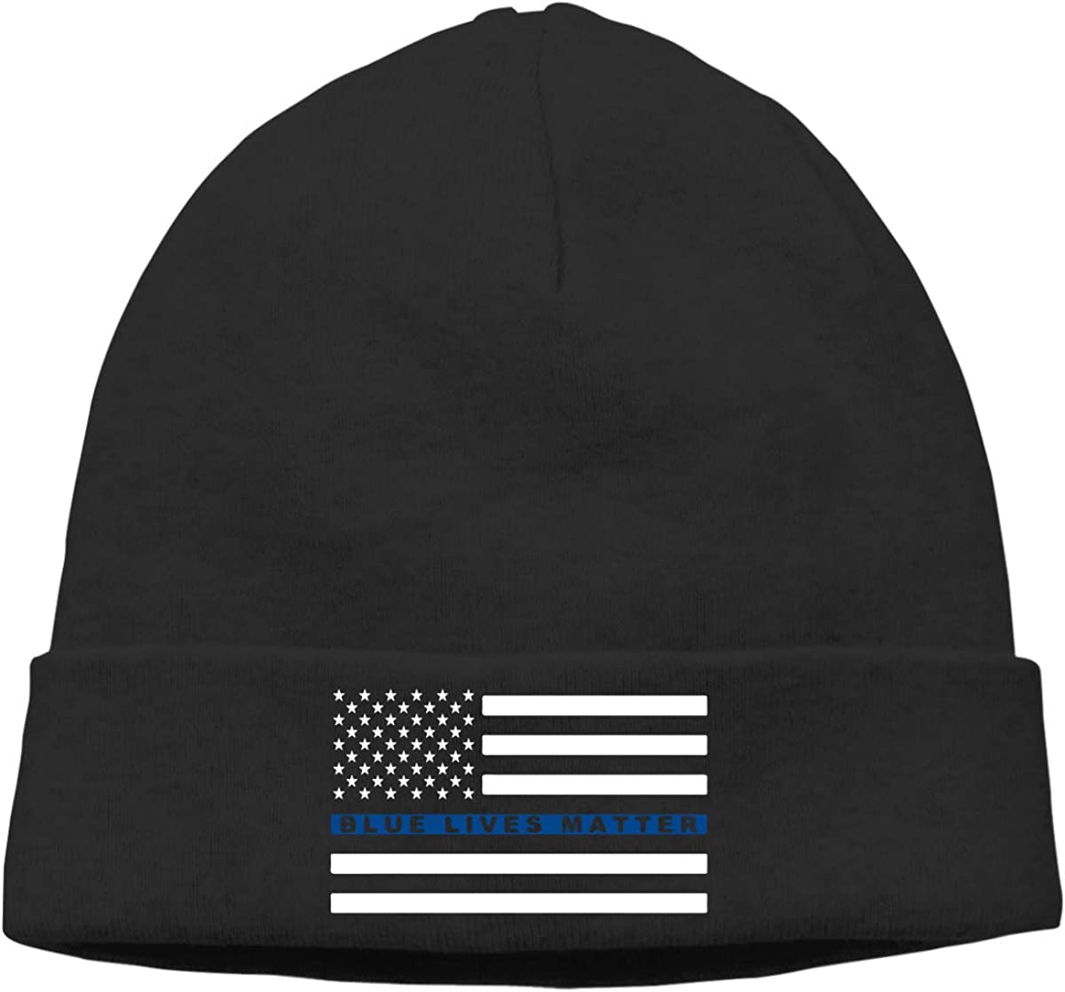 Thin Stretchy /& Soft Winter Cap Thin Blue Line Flag Women Men Solid Color Beanie Hat Blue Lives Matter
