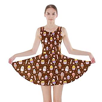 CowCow Womens Brown Yummy Ice Cream Pattern Skater Dress, Brown - XS