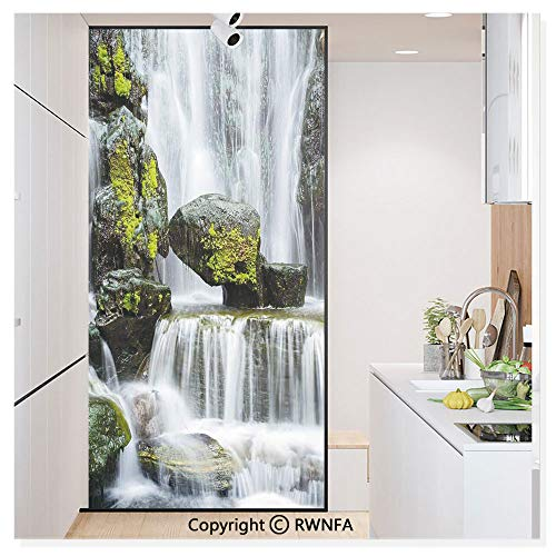 Window Privacy Film UV Blocking 11.8x59.8,Majestic Waterfall Blocked with Massive Rocks with Moss on Them 3D Static Self Adhesive Glass Stickers for Home & Office,Green Black and White