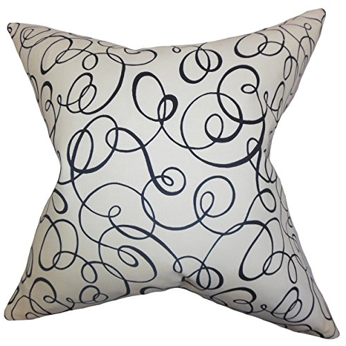 The Pillow Collection P20-D-42160-BLACK_WHITE-C100 Nuru Spiral Pillow, Black White, 20