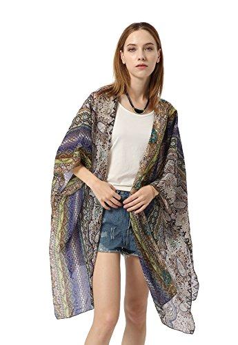 HINURA Women's Kimono Vintage Floral Beach Cover up Paisley Print Sheer Chiffon Loose Cardigan Blue.