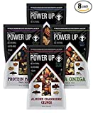 Power Up Trail Mix 100% Natural 8 Snack Bags Protein Packed, Antioxidant Mix, Almond Cranberry Crunch, Mega Omega