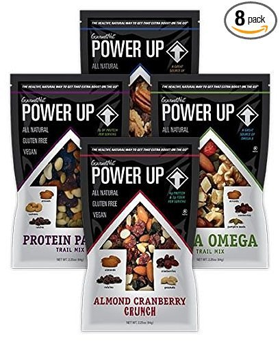 Healthy Snacks Nuts Trail Mix All Natural Protein Packed Antioxidant Mix Almond Cranberry Crunch Mega Omega 2 Packs of 8 Individual Snack Bags By Power Up GourmetNut by Gourmet Nut