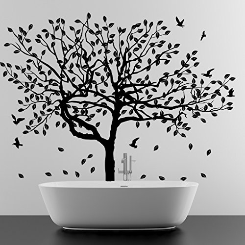 (31'' x 23'') Vinyl Wall Decal Stylish Huge Tree with Falling Leafs & Birds / Nature Art Decor Home Sticker / Removable DIY Mural + Free Random Decal Gift (Falling Leaves Wall Sticker)