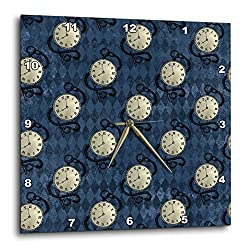 3dRose Anne Marie Baugh - Patterns - Hipster Pocket Watches On A Blue Diamond Background Pattern - 15x15 Wall Clock (DPP_323142_3)