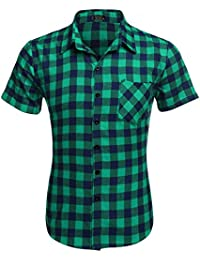 Casual Plaid short Sleeve Shirt Fashion T-shirts (Green (short sleeve)