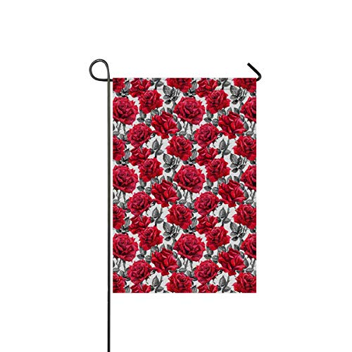 INTERESTPRINT Halloween Red Roses and Black Leaves Vintage Gothic Medieval Decorative Flag Garden Flag House Banner for Wishing Party Wedding Yard Home Decor 12