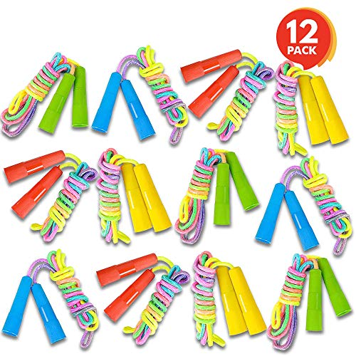 ArtCreativity 7.5ft Rainbow Jump Rope Set (12 Pack) | Vibrant Jumping Ropes for Kids | Durable Nylon Skipping Ropes |Great Birthday Party Favors/ Goodie Bag Fillers / Gift Idea for -