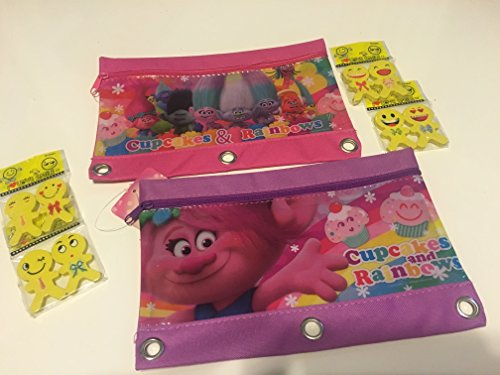 Dreamworks Trolls 3 Ring Pencil Pouch Case - 2 Pack | Bundle Includes 8 Emoji Erasers - College Girl Halloween Pics