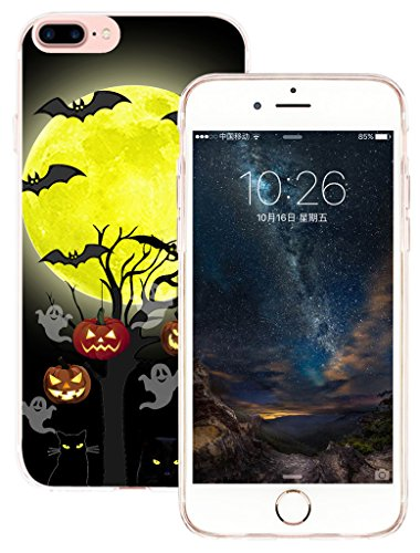Case for iPhone 7 Plus & Cover for iPhone 8 Plus & MUQR Flexible Gel Silicone Slim Drop Proof Protection Cover Compatible for iPhone 7 & 8 Plus & Halloween Pumpkin Cat Bat Design