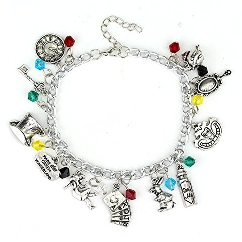 Vintage Fairytale Charms Cinderella Alice in Wonderland Style Novelty Chain Charm Bangle Bracelet (Alice In Wonderland Shop)