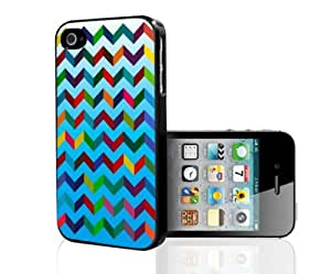 Bright Blue Rainbow Chevron 3d Pattern Hard Snap on Cell Phone Case Cover iPhone (4 4s)