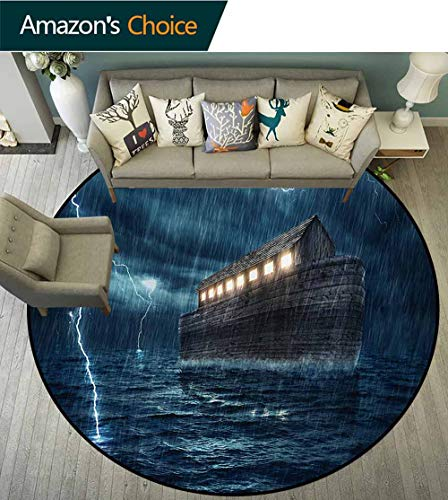 - RUGSMAT Nature Small Round Rug Carpet,Old Nostalgic Wooden Boat Ship During Rain and Thunder Storm Scary Dramatic Scene Door Mat Indoors Bathroom Mats Non Slip,Round-59 Inch Blue Brown