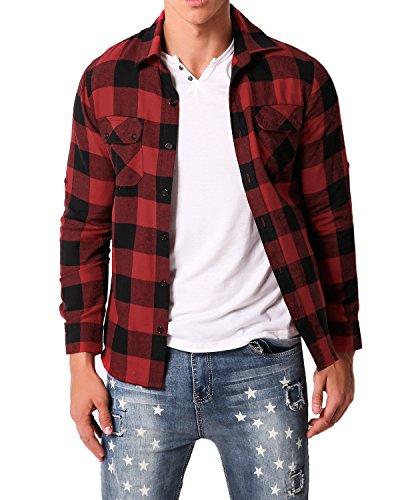 MODCHOK Men Flannel Plaid Shirt Long Sleeve Check Button Down Outwear Regular Fit Tops