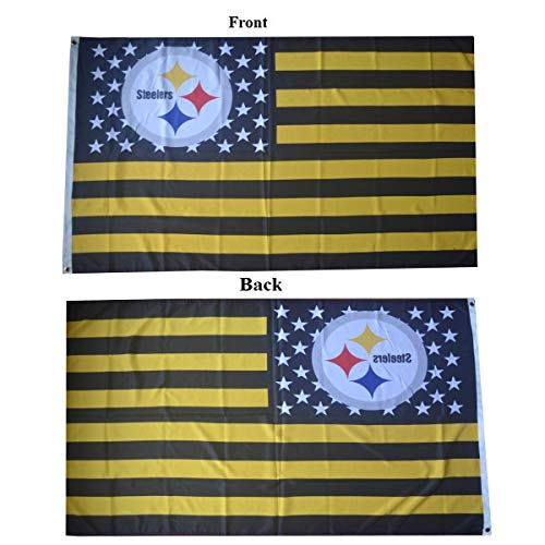 Pittsburgh Steelers Fans stars and stripes two Side Printed Flying flag 3ftx5ft