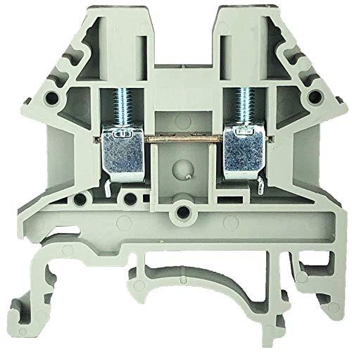 Dinkle Gray DK2.5N-S13109 DIN Rail Terminal Block Screw Type UL 600V 20A 12-22AWG, Pack of 100 Grey