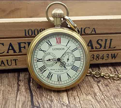 5billion Antique Copper London Pocket & fob Watches Mechanical Watch Hand Wind Skeleton Mens Pocket Watch with Chain Xmas Gift Box