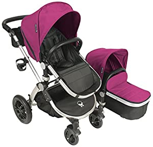 Babyroues Letour Avant Canvas Stroller - Bloom Pink/Silver