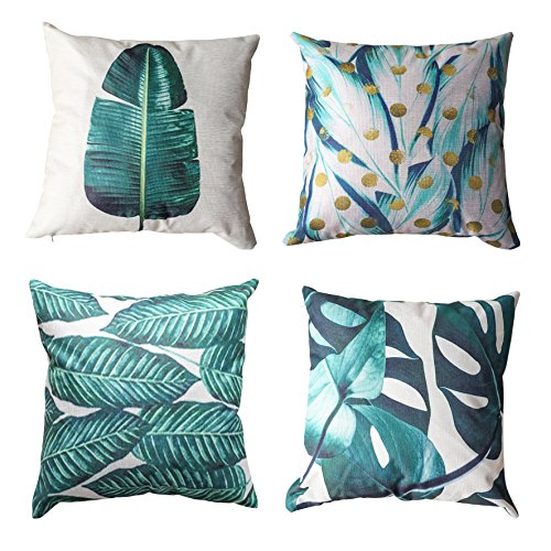 ALPHA HOME Decorative Throw Pillow Covers Set of 4 Cushion Covers - 18 x 18 inch (Leaf -1) ()