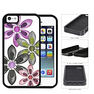 Grunge Flower Sketch With Amethyst Stones 2-Piece Dual Layer High Impact Rubber Silicone Cell Phone Case Apple iPhone 5 5s