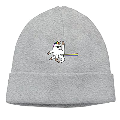 Unicorn Cat Rainbow Butt Laser Mens Womens Cuff toboggan Knit Beanies Wood Trucker Caps Artwork Unisex Winter Hats Graphic For Outdoor,Dance,Hip Hop