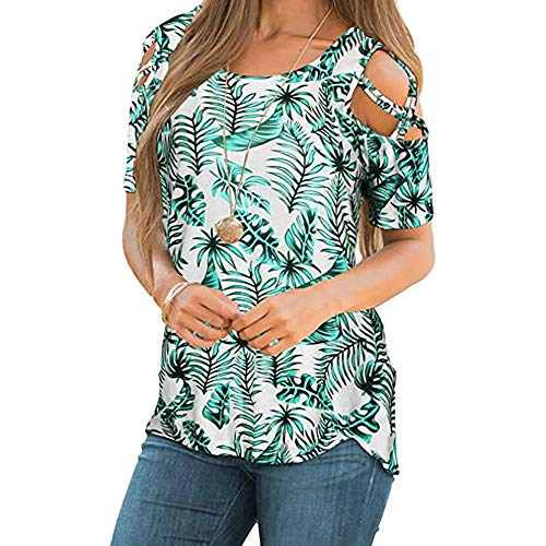 FORUU Shirts for Womens, Ladies Printed Sexy Off Shoulder Short Sleeve T-Shirt Blouses Tops Fashion 2019 Office Elegant Summer Business Work Casual Under 5 10 15 Dollars Sexy