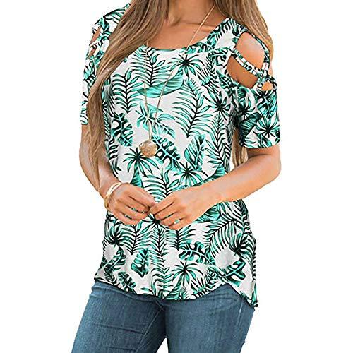 iTLOTL Elegant Blouses for Women Summer Strappy Cold Shoulder Short Sleeve T-Shirt Tops(X-Large,Greene-G) ()