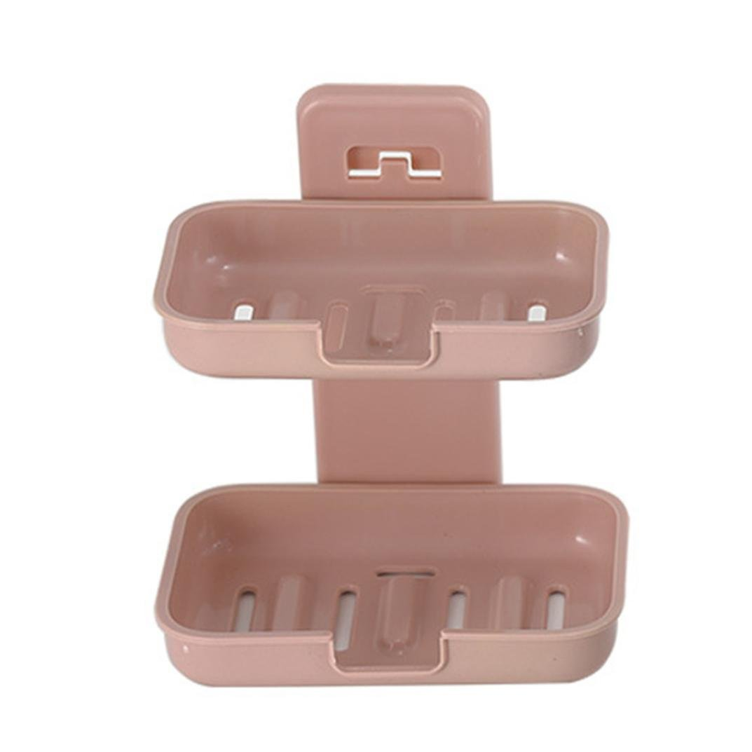 TAOtTAO Bathroom Shower Soap Box Dish Storage Plate Tray Holder Case Soap Holder (Pink)