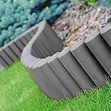 Parkland Palisade Lawn Edge Plant Border Path Garden Edging Fencing Plastic (3 Sets of 8 (6.6m), Grey)