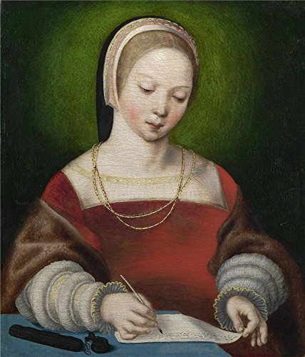 'Netherlandish A Girl Writing ' Oil Painting, 10 X 12 (Special Blend Battery Pant)