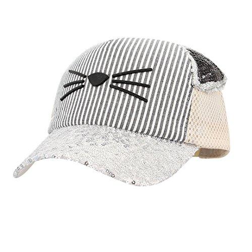 Surkat Kids Cute Cat Shiny Sequin Baseball Cap Snapback Casual Sunhat Adjustable Mesh Baseball Hat(Beige)