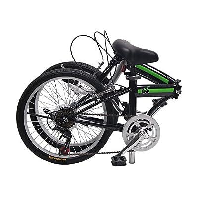 EBS Folding Bicycle City Shimano Gear 6 Speed Compact Foldable Commute Bike Wanda Tire, Green