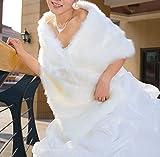 ConversancyWhite Faux Fur Wrap Shawl Shrug Bolero Cape Lady Gift with Satin Bowknot, Bridal Ivory Faux Fur Jacket coat shawls (Universal)