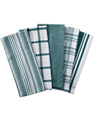 """DII Kitchen Dish Towels (Teal, 18x28""""), Ultra Absorbent & Fast Drying, Professional Grade Cotton Tea Towels for Everyday Cooking and Baking -  Assorted Patterns, Set of 5"""