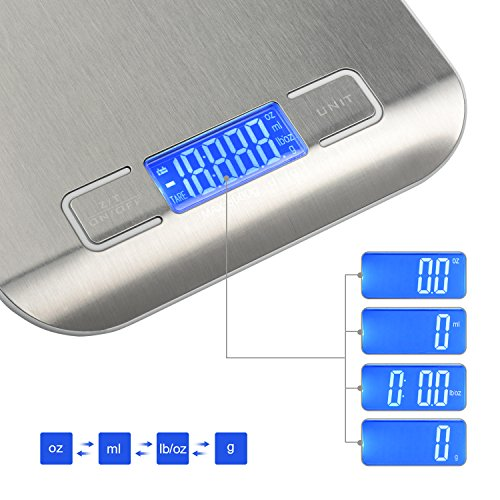 Kitchen scale,Digital Food Kitchen Scale,Stainless steel kitchen scale,5kg Baking scale,Bakery electronic gram weigher,Multifunction Scale Measures in Grams,Ounces,lb,ml (2 AAA batteries included)