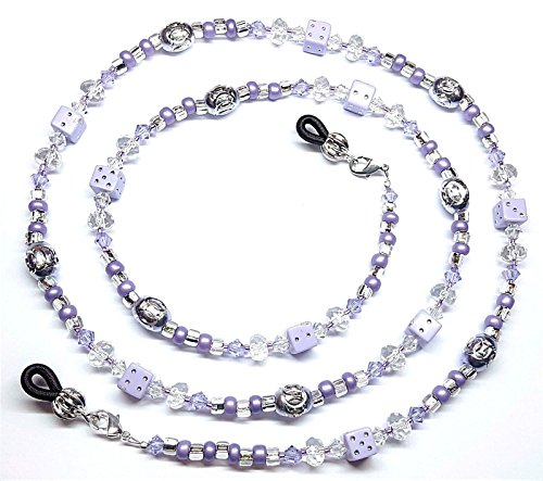Austrian Crystal Purple Dice Eyeglass Chain Holder