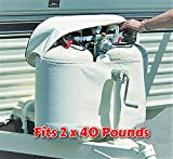 RV Propane Tank Cover for 2 x 40 Pounds Cylinder Weatherproof with Easy Open Close Zipper Heavy Duty Strong and Durable, RV and Outdoor Accessories & Free Ebook by Stock4All
