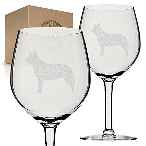 Stickerslug Engraved Australian Cattle Blue Heeler Dog Wine Glasses, 11 ounce, Set of 2
