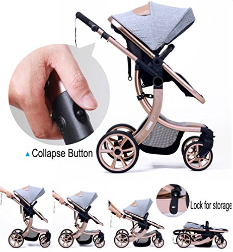 AIMILE Newborn Baby Pram Infant Foldable Anti-shock High View Jogger Stroller Multi-Positon Reclining Seat Stroller Pushchair(Grey) by OLizee (Image #7)