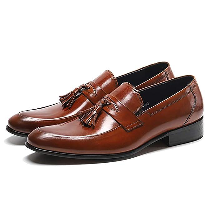 LYMYY Zapatos de vestir de cuero para hombres Zapatos con punta estrecha Mocasines con borla Calzado clásico para trabajo de caballero Calzado de conducción ...
