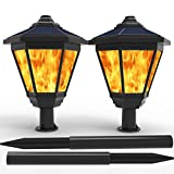 LAMPAT Solar Lights, Waterproof Flickering Flames Torches Lights Outdoor Landscape Decoration Lighting Dusk to Dawn Auto On/Off Security Torch Light for Garden Patio Deck Yard Driveway, 2 Pack